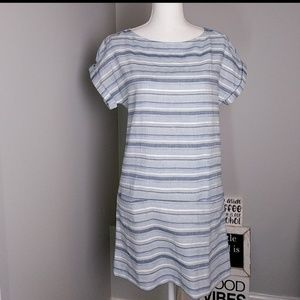 Massimo Dutti NWT Striped Linen Blend Dress Size 4